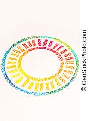 pastello, colorito, foto, gessi, fine, disegnato, cerchio