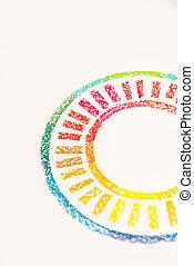 pastello, colorito, foto, gessi, raccolto, disegnato, cerchio