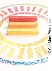 pastello, colorito, foto, gessi, tre, raccolto, mezzo, disegnato, cerchio
