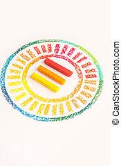 pastello, colorito, foto, gessi, tre, su, mezzo, chiudere, disegnato, cerchio