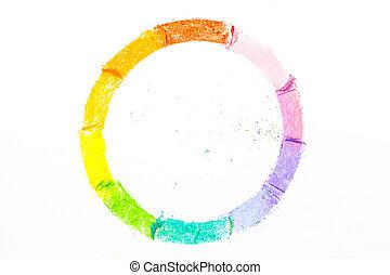pastello, colorito, gessi, fondo, disegnato, cerchio, bianco