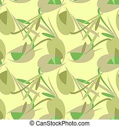 pastello, fondo., tulips, gentile, vettore, oliva, fiori