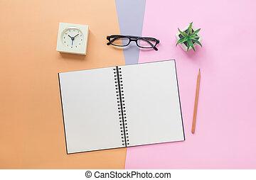 pastello, pianta, cima colorita, orologio, quaderno, fondo, penna, occhiali, vista
