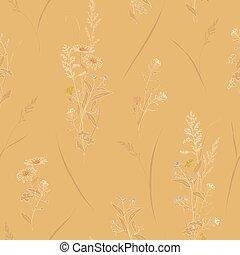 pastello, schizzo, vettore, contorno, toned, modello, sepia, seamless, colori, stile, fondo, floreale, fiori, hand-drawn, prato