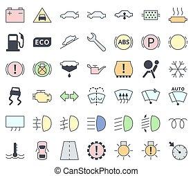 pastello, servizio, set, automobile, -, ripieno, simboli, interfaccia, colori, vettore, cruscotto, manutenzione, indicatori, icona
