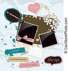 pastello,  set, elementi,  scrapbooking