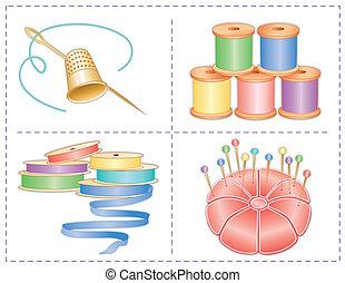 pastels, cosendo, acessórios