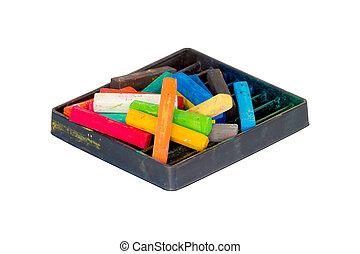 pastels, ensemble, art, isolé, craie, arrière-plan., scrapbooking, blanc, dessin
