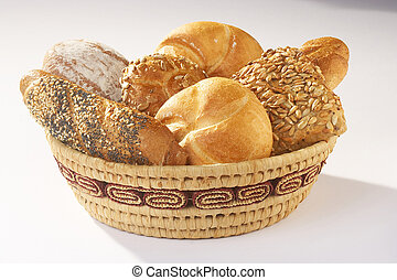 Pastery - Gebäck - Basket full with Pasteries on white...