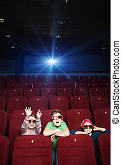 Pastime at the cinema - Children spending time with pleasure...