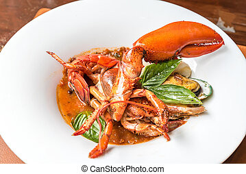 Pastis Grilled Halved Lobster Tails