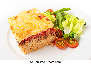 Pastitsio meal high angle