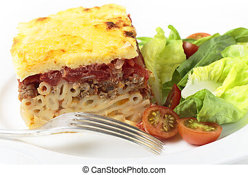 Pastitsio meal with fork
