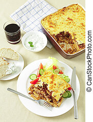 Pastitsio taverna meal from above