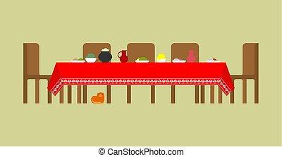 pasto., cucina, nazionale, cibo., tradizionale, russo, tavola, russia, popolo