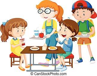 pasto, detenere, bambini, tavola