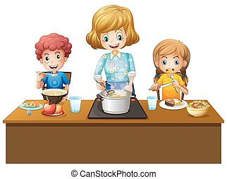 pasto, detenere, famiglia, tavola