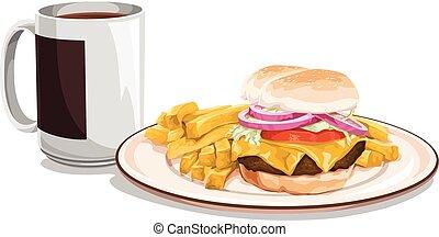 pasto., hamburger, tazza, vettore, tè