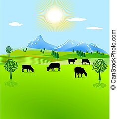 pasto, montaña, vaca, prado