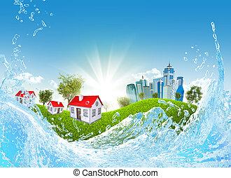 pasto o césped, agua, edificios, verde