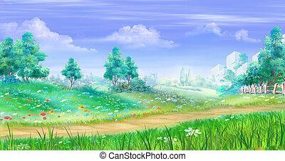 pasto o césped, alrededor, rural, trayectoria, flores, paisaje