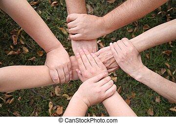 pasto o césped, conectado, manos