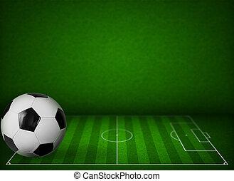 pasto o césped, futbol, o, campode fútbol, plano de fondo, con, pelota