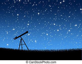 pasto o césped, telescopio, estrellas, debajo
