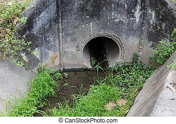 pasto o césped, viejo, canal, drenaje