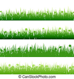 pasto o césped, y, plantas, detallado, silhouettes., eps, 10