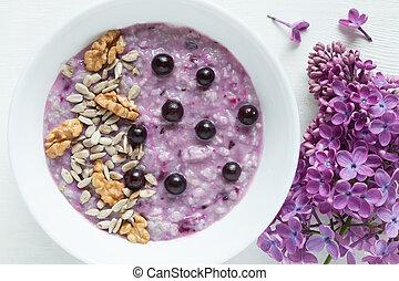 pasto., porridge, mangiare, girasole, sano, vegetariano, dieta, bacche, noci, semi, farina avena, pulito, piastra., bianco