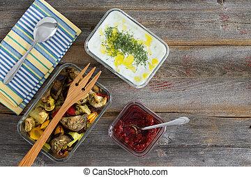 pasto sano, di, arrostito, verdura