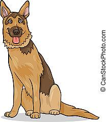 pastor alemán, perro, ilustración, caricatura