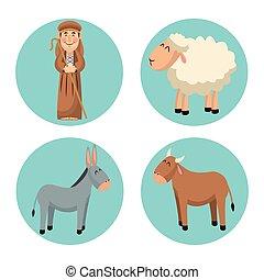 pastor, caricatura, diseño