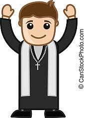 Pastor Cartoon Vector - Cartoon Happy Christian Priest...