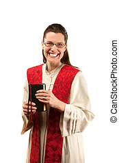 Pastor - Female pastor with red stole and Bible