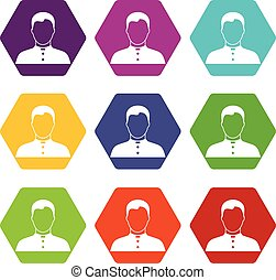Pastor icon set color hexahedron - Pastor icon set many...