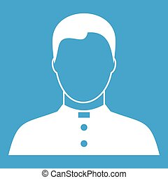 Pastor icon white isolated on blue background vector...