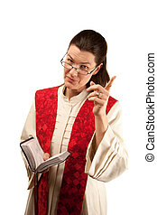 Pastor in white robes with Bible and red stole