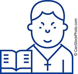Pastor line icon concept. Pastor flat vector symbol, sign,...