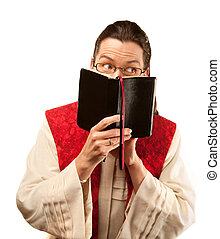 Pastor looking out from behind Bible