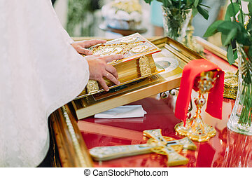 Pastor reads bible during wedding ceremony in Orthodox ...