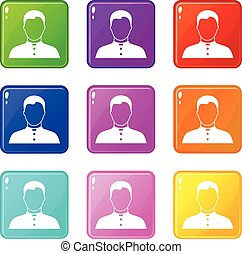 Pastor set 9 - Pastor icons of 9 color set isolated vector...
