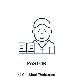 Pastor vector line icon, linear concept, outline sign,...