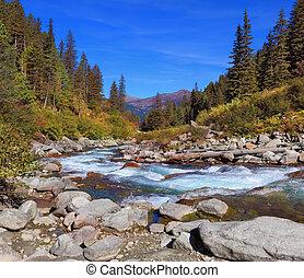 pastoral, alpin, krimml, chutes d'eau