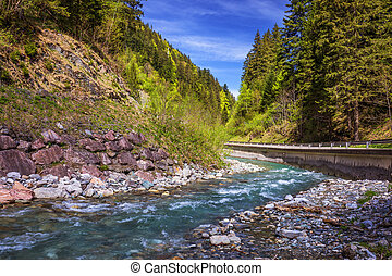 Pastoral in the Alpine mountain valley in Austria. Rapid mountain stream. Mountain river and green forest.