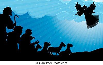 pastores, y, ángel, silueta