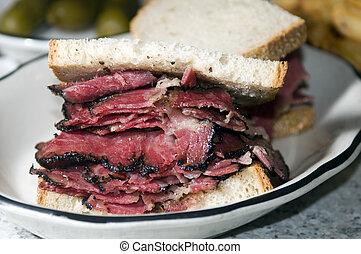 pastrami sandwich rye bread kosher jewish delicatessen new...