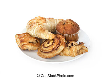 pastries and breakfast croissants isolated on a white background