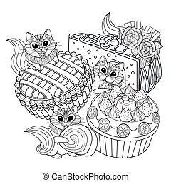 Pastries adult coloring page, delicious snacks page for...